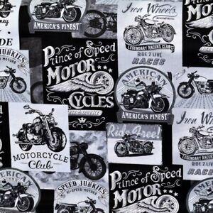 Motorrad Stoff Vintage Motorcycles Patchworkstoff Patchwork Motorräder Baumwolle