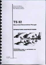 """RANSOMES """"TS 82"""" aratro reversibile ISTRUZIONI E LIBRO ILLUSTRATO DELLE PARTI"""