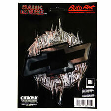 Original Chevy Chevrolet Flammen Bowtie Emblem Aufkleber Decal Sticker Chrom NEU