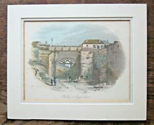 1853 The Cut Argyle St Antique Print Sydney Australia Terry Fleury! NSW Handcol