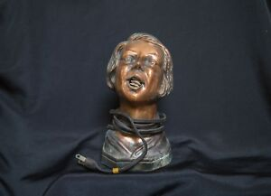 1930 ARTURO LEVI ART DECO WOMAN HEAD BUST TABLE CIGARETTE CIGAR LIGHTER