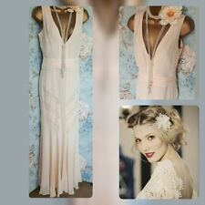 Monsoon 20s deco donella gatsby cream nude silk lace vintage wedding long dress