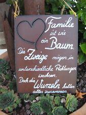 """Spruchtafel - Edel-Rost -Tafel - Garten - Schild - """"Familie ist wie ein .."""" (10)"""