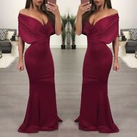 57ac5fda0f8 Women Off Shoulder Mermaid Maxi Formal Evening Gown Party Cocktail Dress