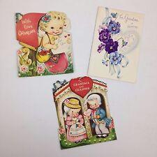 Lot of 3 Vintage Norcross Valentine Cards Die Cut Grandmother Cupid Baby Floral