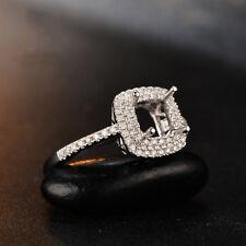 1.65ct Cushion Double Halo Engagement Semi Mount Setting Ring 14K White Gold Fn