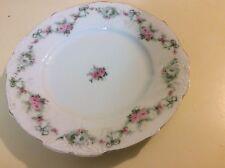 "ANTIQUE HERMANN OHME SILESIA PORCELAIN ROSE Salad Plate 8.5"""