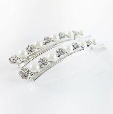 USA Bobby Pin Rhinestone Crystal Hair Clip Hairpin Wedding Pearl Silver 50