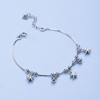REAL 925 Sterling Silver Flower Bracelet Box Chain Bangle SOLID SILVER Jewelry