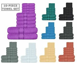 10 Piece Luxury Towel Bale Set 100% Pure Cotton Bath Towels Facecloth Hand Towel