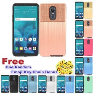 For LG Stylo 4/Stylus 4 Slim Brushed Texture Dual Hybrid Layers Shock Proof Case