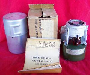 1952 ROGERS AKRON OHIO M-1950 Korean War Era Camp Stove NOS - Never Fired W/Box