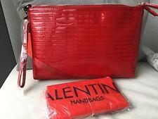 Handtasche Clutch Valentino rot Lederimitat Lackoptik