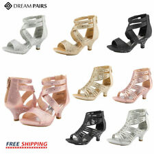 DREAM PAIRS Girls 1.8inch High Heels Zipper Ankle Wedding Dress Pump Sandals