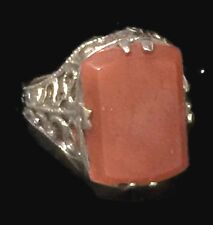 Victorian Carnelian Vintage Sterling Silver Pinky Ring Band Size 4 Women Girls