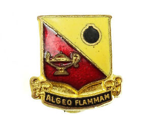Women Ordnance Worker Insignia Vintage Shield Pin Algeo Flammam Red Yellow