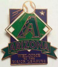 Welcome Arizona DIAMONDBACKS to MLB A LOGO on Baseball diamond PIN Purple & teal
