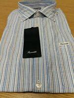 Faconnable Blue Striped LS Mens Size Medium Shirt Contemporary New Ref HVS1