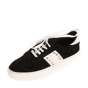 PIXY Leather Sneakers Size 38 UK 5 US 8 Studded Two Tone Lace Up Round Toe