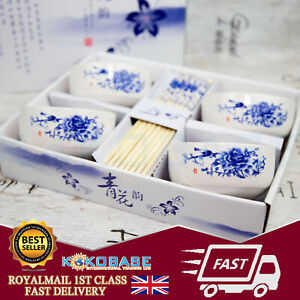 White Boxed Gift Set 4 Pairs Of Ceramics Chinese Chopsticks with Rice Bowls Gift