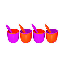 Melamine Bowls Set 4 Bowls 4 Spoons Ice Cream Snack Orange/Fuchsia Zak Designs