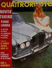 Quattroruote 178 1970 Prove Kadett, Espada,  Guzzi V7. Poster Regazzoni  [Q.32]