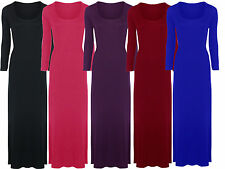 New Womens Plus Size Long Sleeve Maxi Dress Fitted Stretch Jersey Maxi 16-26