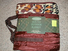 Northpoint Quilted Outdoor Picnic Blanket w/ Carry Handles Tiger Print 50x60