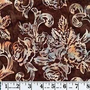 Hoffman ½ yd Batiks Bali Handpaints J2372-51 Rose Brocade Chestnut Brown