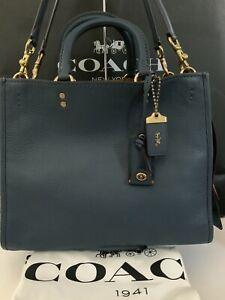 NWT Coach 1941 Rogue DARK DENIM Pebbled Leather Handbag #38124 ~ $795