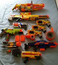 8 Nerf Gun Lot No Darts Maverick Longshot Vulcan Vortex N-Strike Clips and Belt