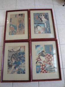 4 Vintage Framed Very Old Japanese Wood Block Prints  !!