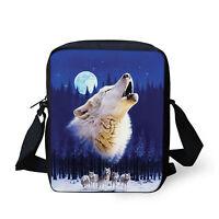 Wolf Print Cross Body Bags Girl Boy Shoulder Bag Adjustable Straps satchel Small