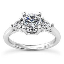 Three Stone Solitaire 1.10 Carat SI1/G Round Diamond Engagement Ring White Gold