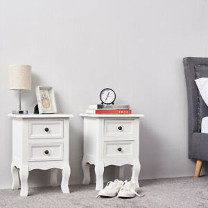 2x Bedroom Bedside Tables Cupboard Unit Cabinet Nightstand Storage w/ 2 Drawers