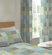 Blue / Green Floral Pattern Patchwork Curtains 72s