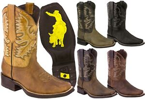 Mens Western Cowboy Boots Square Toe Genuine Leather Classic Rodeo Botas