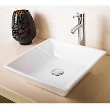 New White Modern Design Bathroom Ceramic Vessel Sink Square &Chrome Faucet Combo