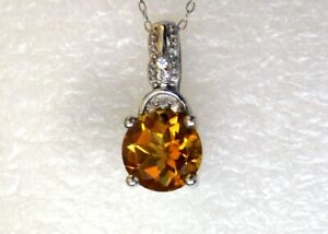 Golden Citrine & White Zircon Pendant and Chain, 925 Sterling Silver, 1.9cts