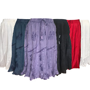 Women s embroidered Skirt stretch waist gypsy long floral knit high Maxi summers