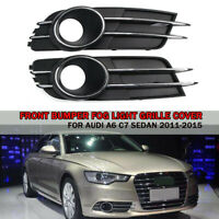 2x Left & Right Front Bumper Fog Light Grille Cover For Audi A6 C7 Sedan 11-15