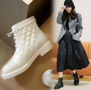 Womens 2020 Fashion Leather Quilted Lace Up Zipper Combat Ankle Boots Shoes OQOK