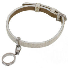 Cartier Love Charm Leather Band Bracelet in 18k White Gold D5285