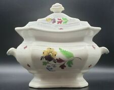 STAFFORDSHIRE Soft Paste Pearlware Lidded Sugar Pansy & Forget-me-nots England