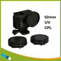52mm UV/CPL filter kit(with adapter ring) for Gopro Hero 7 6 5 Black Screw free