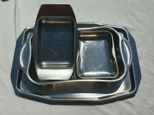 Vintage Stainless Steel Serving Trays x 4 Various Sizes In Great Condition
