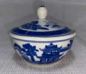 Painted Blue & White Lidded Sugar Bowl Made In China