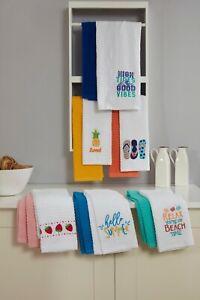 Vantona 100% Cotton Towels 366 GSM Tea Towels in 5-Colors (Pack of 2 Tea Towels)