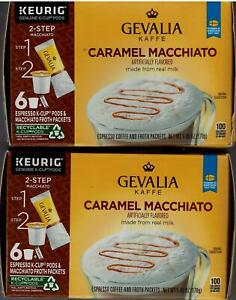 Gevalia Caramel Macchiato, Lot of 2, 12 Total Pods + 12 Froth Packets