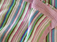 Girls Pink Stripe Baby Girl Cotton  Cot Pram Blanket Wrap New Born Gift